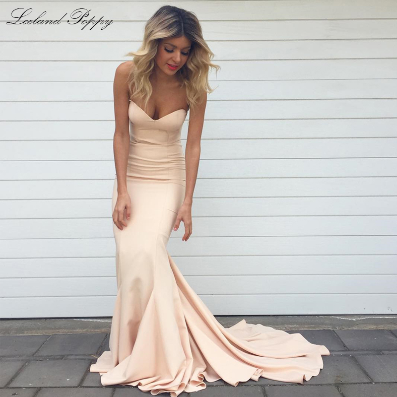 Evening-Dresses Sweep-Train-Robe Satin Poppy Mermaid Strapless De-Soiree Formal Floor-Length title=