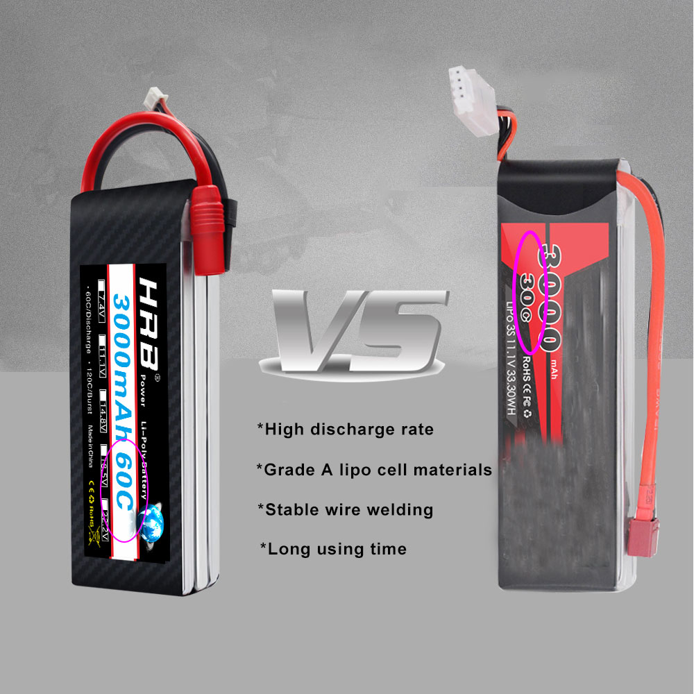 2 Units HRB RC Lipo Battery 3S 11.1v 1300mah 1500mah 2200mah 2600mah 3000mah 45c 60c 90c deans plug for rc drones Airplne Cars