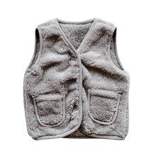 Зимняя одежда для маленьких девочек, однотонный плюшевый жилет без рукавов, Толстая теплая куртка из искусственного плюша, пальто, одежда