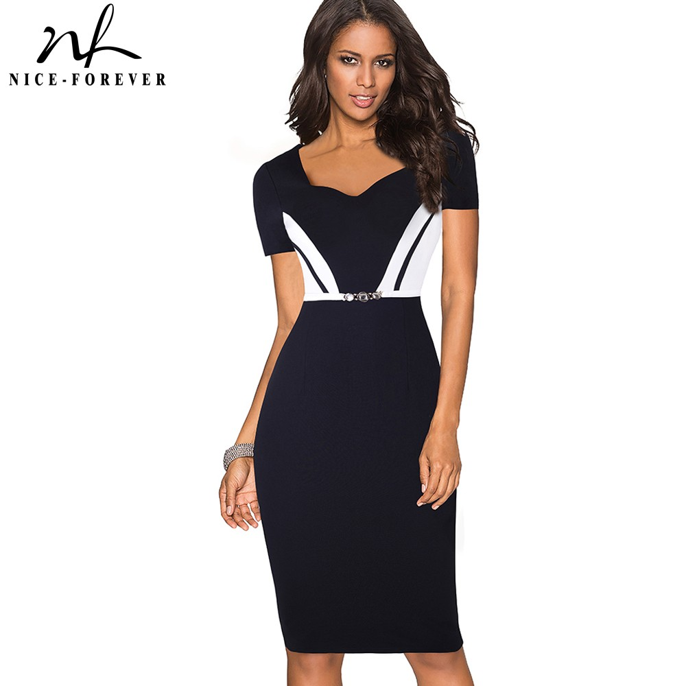 Nice-forever Summer Black And White Patchwork Office Dresses Business Bodycon Sheath Women Work Dress BtyB371