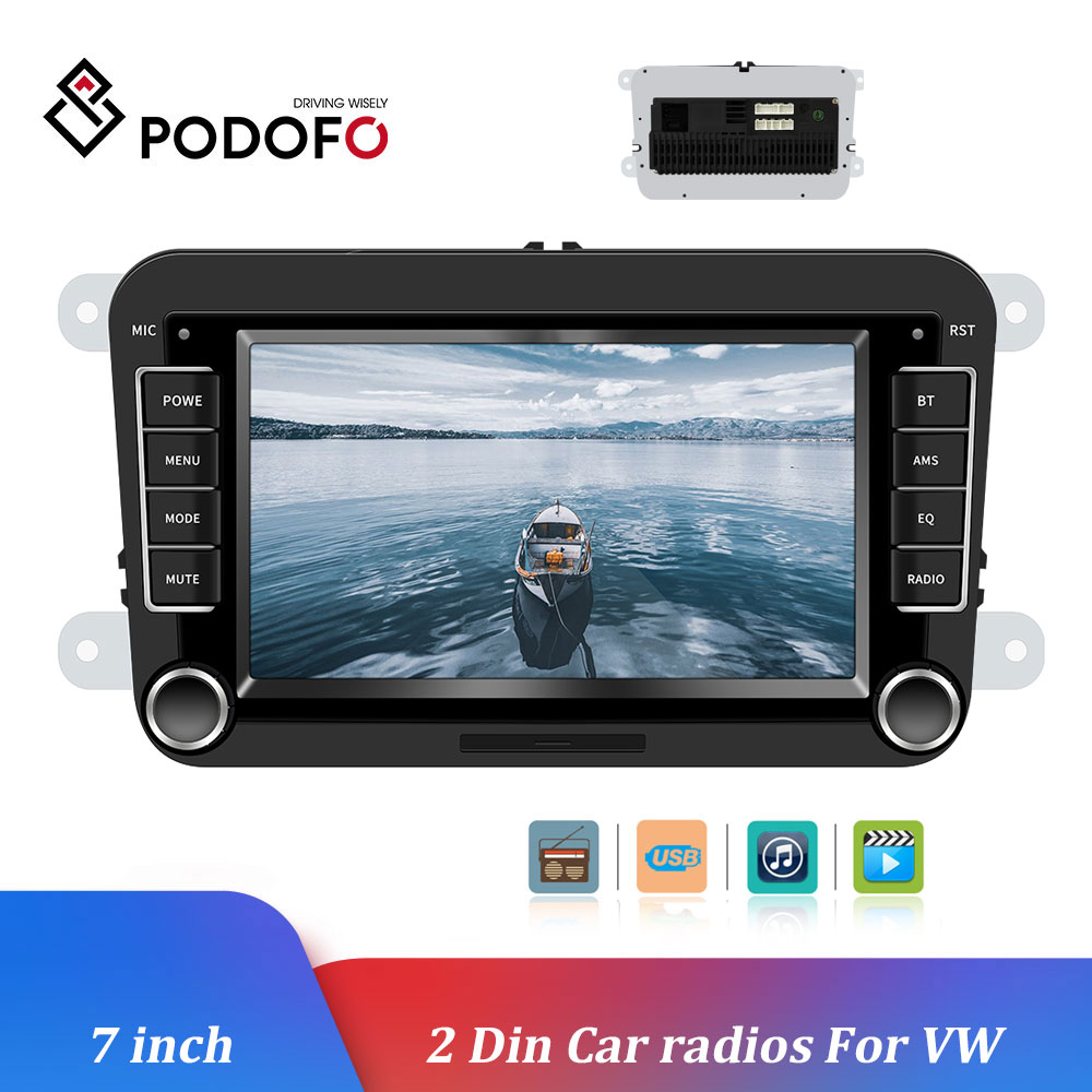 Podofo Car Multimedia Player 7'' Android IOS Mirror Link Car Radio Bluetooth Mp5 Audio Player Audio Stereo <font><b>2DIN</b></font> Radio For VW image