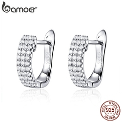 BAMOER Classic New 925 Sterling Silver Shining Clear  CZ Cubic Zircon Stud Earrings for Women Wedding Jewelry SCE560