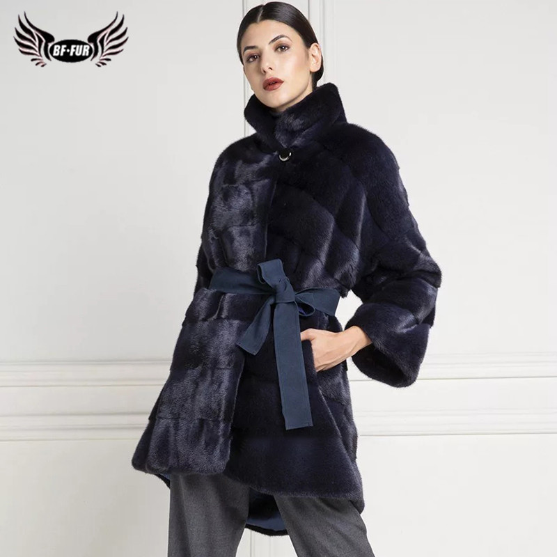 2019 Elegant Luxury Overcoat Womens Stand Collar Mink Fur Coat Long Warm Jacket
