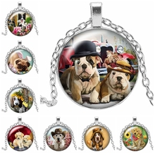 2019 Hot Sale Art Naughty Cute Dog Cartoon Round Photo Glass Cabochon Necklace Pendant Gift