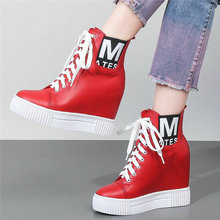 Punk Goth Creepers Womens Cow Leather Wedges High Heel Ankle Boots Lace Up Top Winter Warm Platform Pumps Trainers Shoes