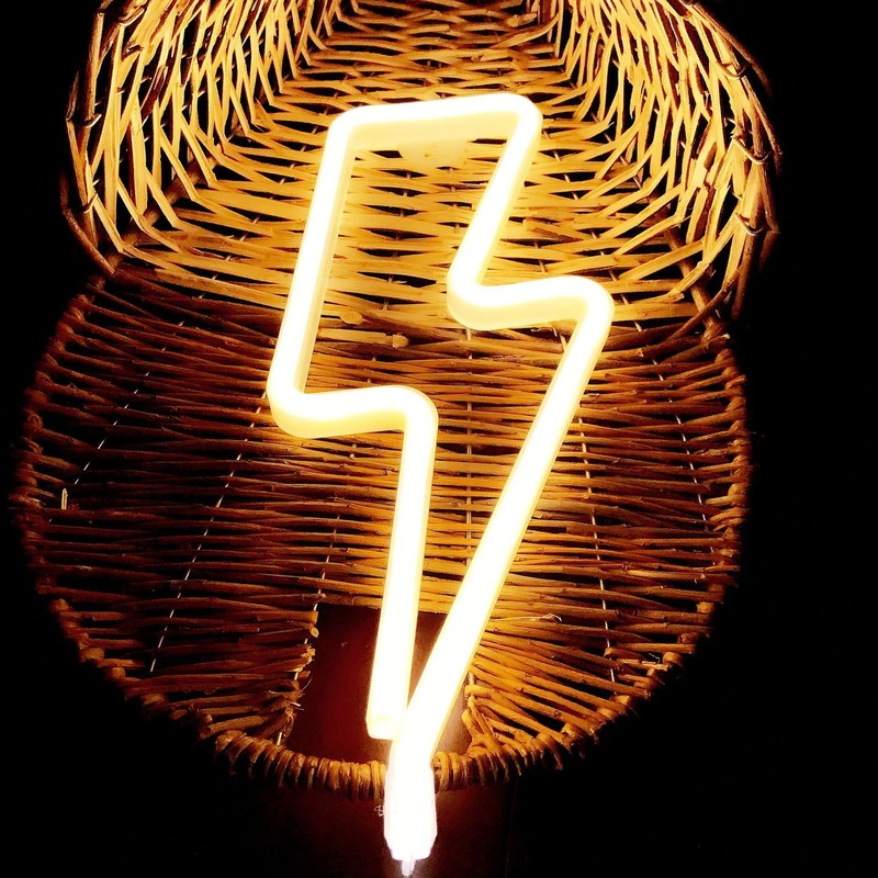 2020 LED Neon Sign Lightning Shaped USB Battery Operated Night Light Decorative Table Lamp For Home Party Living Room Decoration