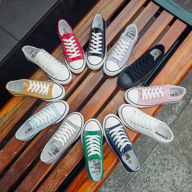 Candy Color Canvas Flat Shoes Women