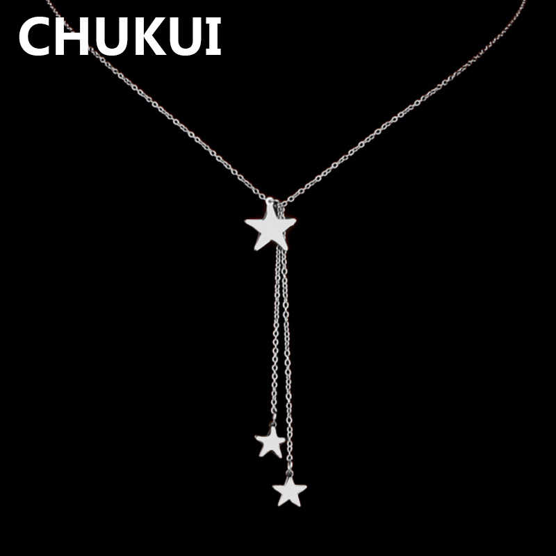 CHUKUI Stainless Steel Silver Chain Necklaces & Pendants Star Chain Necklace Women Jewelry Accessories Punk