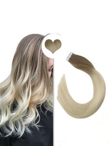 Ugeat Human-Hair-Extensions Weft Adhesive Tape-In Ombre-Color Double-Sided Real Skin