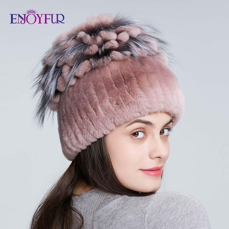 ENJOYFUR Women Fur Hats For Winter Natural Rex Rabbit Fox Fur Cap Russian Female Fur Hat Fashion Warm Beanies