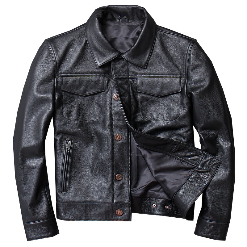 Free Shipping.Mens Casual Leather Coat.father's Gift Leather Jacket,men Genuine Leather Jacket.winter Warm Black Outwear