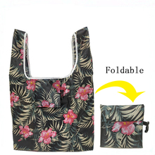 GABWE New Flamingo Recycle Shopping Bag Eco Reusable Shopping Tote Bag Cartoon Floral Shoulder Folding Pouch Handbags Printing