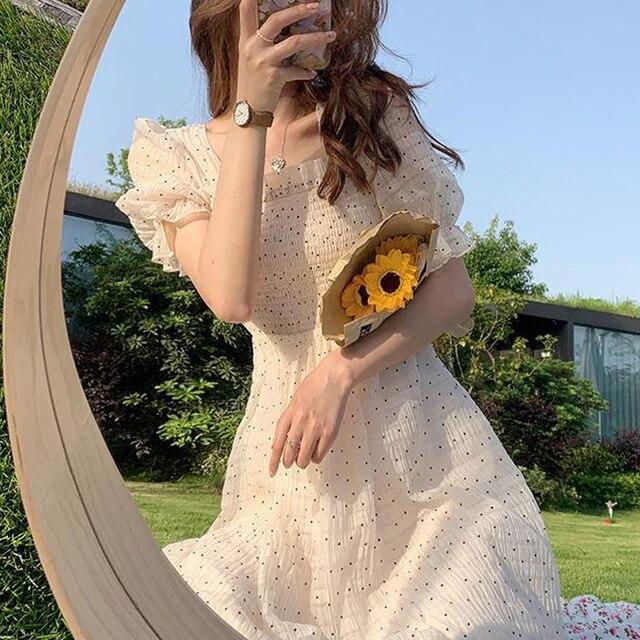 2021 Summer Floral Design Sweet Dress Short Sleeve Chiffon Elegant Dress Korean Style Square Collar Party Dress for Female Dot 1