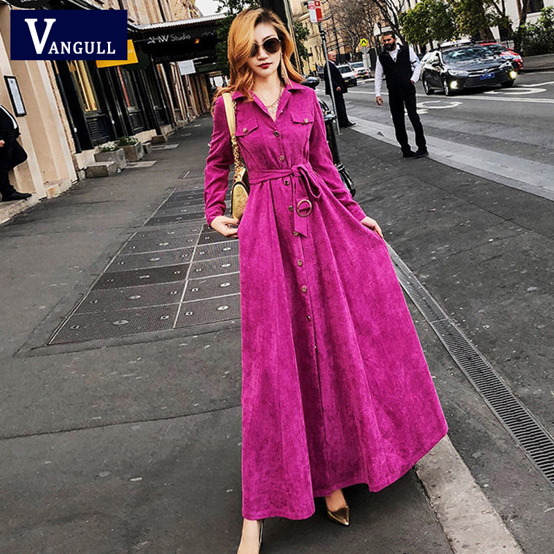 Vangull Women Corduroy Solid Dress 2019 New Autumn Winter Female High Waist Turn Down Collar A-Line Long Dresses With Sashes