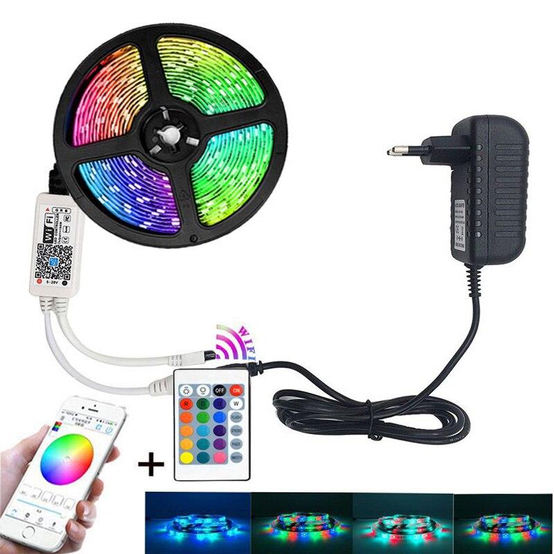 RGB LED Strip Light SMD 2835 5M Waterproof RGB Tape DC12V Ribbon diode led Strips Light Flexible Stripe Lamp IR WIFI Controller(China)