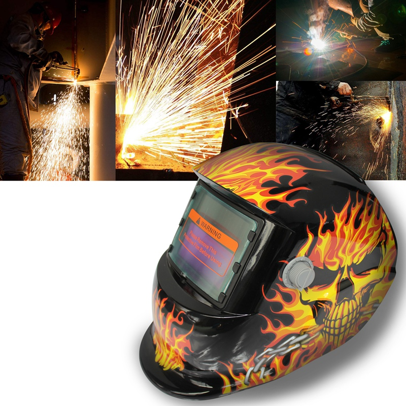 2018 New Pro Solar Welder Mask Auto Darkening Welding Helmet Iron chains skull|  - title=