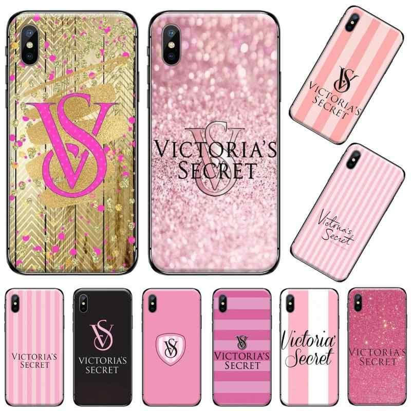 빅토리아 섹시한 럭셔리 패션 브랜드 핑크 소프트 블랙 아이폰 5 5s 5c se 6 6s 7 8 플러스 x xs xr 11 pro max