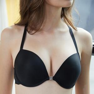 Image 3 - BALALOUM ผู้หญิงเซ็กซี่ไม่มีรอยต่อ Push Up เสื้อ Bra ชุดปิดด้านหน้า Y line สายรัด RACER กลับลูกไม้ Brassiere ชุดชั้นในร้อนสีม่วง