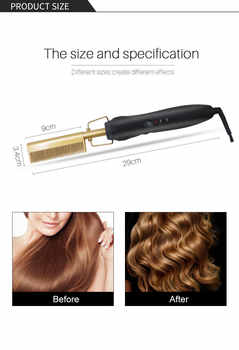 gold black newest gold hair comb Fast Smoothing Electric Hair Straightener Brush Ceramic Heating Temperature