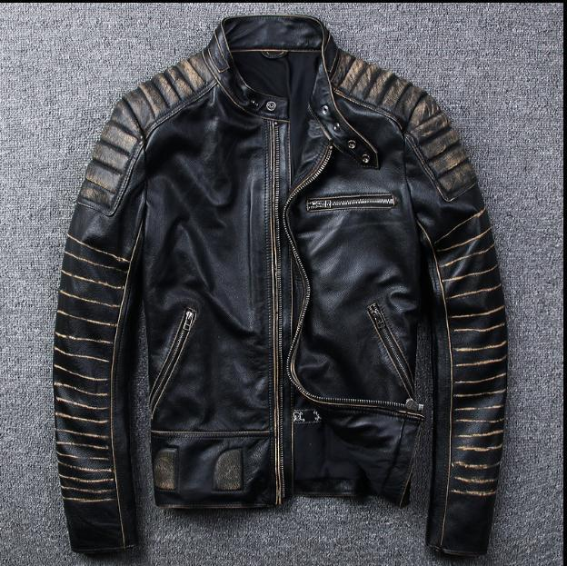 Free Shipping.New Vintage Brand Clothing Mens Cow Leather Jackets Men Genuine Leather Biker Jacket.motorcycle Homme Fitness