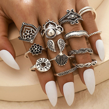 14Pcs Vintage Bohemian Rings For Women Boho Metal Female Finger Ring Set 2020 Fashion Geometric Antique Jewelry Gifts D5Z196 vintage rudder character unisex finger ring creative watches antique alloy rings hot gift for women men