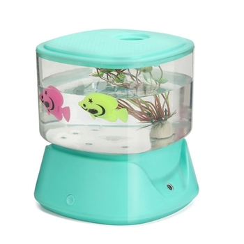 Creative Fish Tank Humidifier Household Mini USB Ultrasonic Air Humidifier Beautiful Night Light DC5V Aroma Oil Diffuser 150ml beautiful lighthouse humidifier usb portable ultrasonic diffuser household air humidifier mini diffuser home office baby