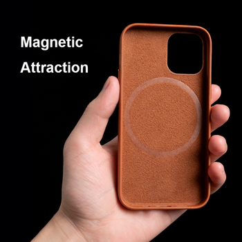 Leather Case For iPhone 12 Pro Max Mini Magnetic Mobile Phone Wireless Charge Cover Genuine Leather Cases For iPhone 12 Promax 2