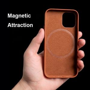 Image 2 - Capa de couro genuíno para iphone 12 pro max, estojo para celular magnético, para iphone 12 pro max