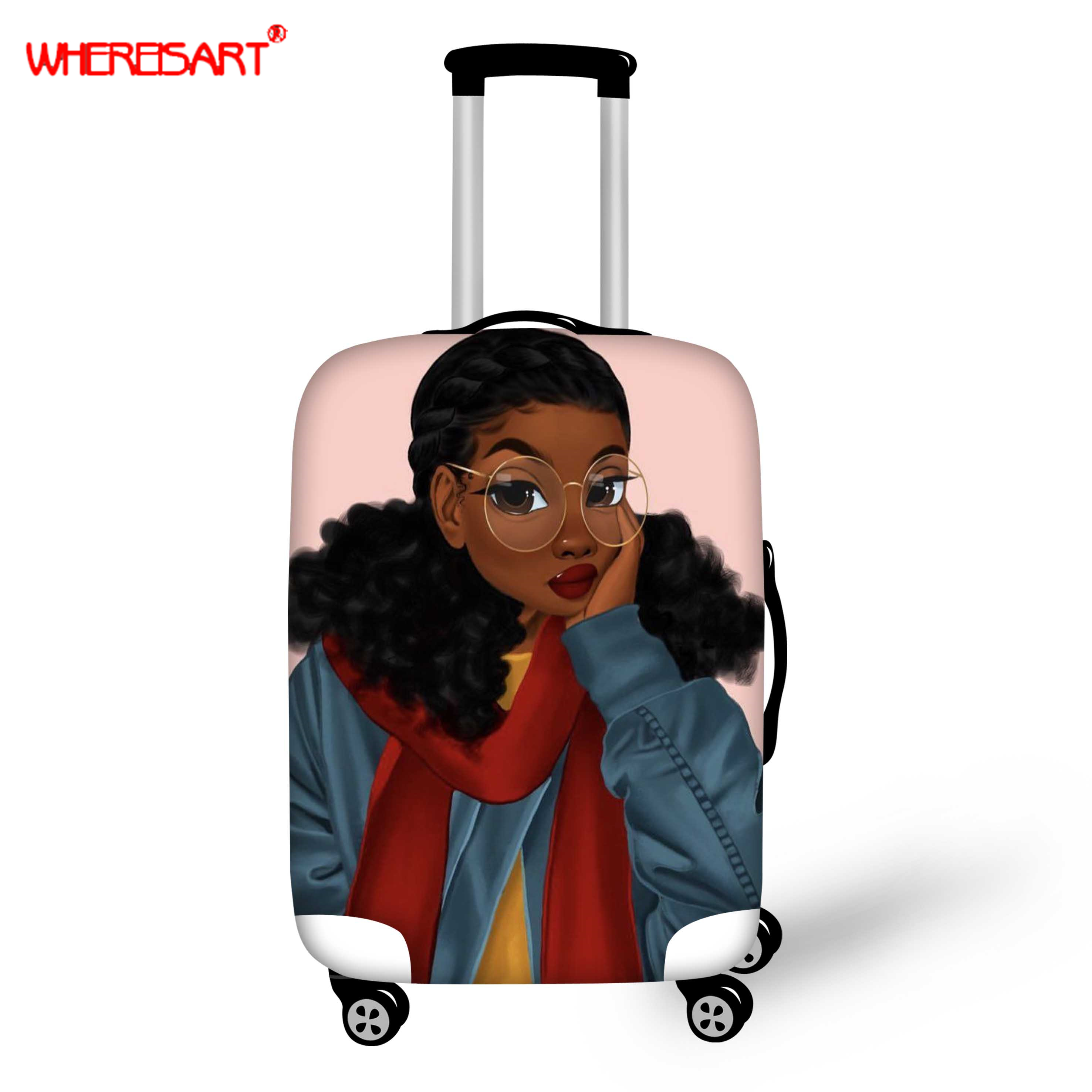 WHEREISART Afro Black Girls Magic Travel Luggage Protection Cover,18-30 Inch Suitcase Elastic Case Covers, Trolley Dust Cover