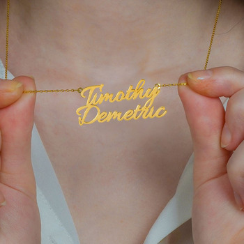 Double name necklace Two Necklace custom Personalized 925 Sterling silver 18k Gold Plated