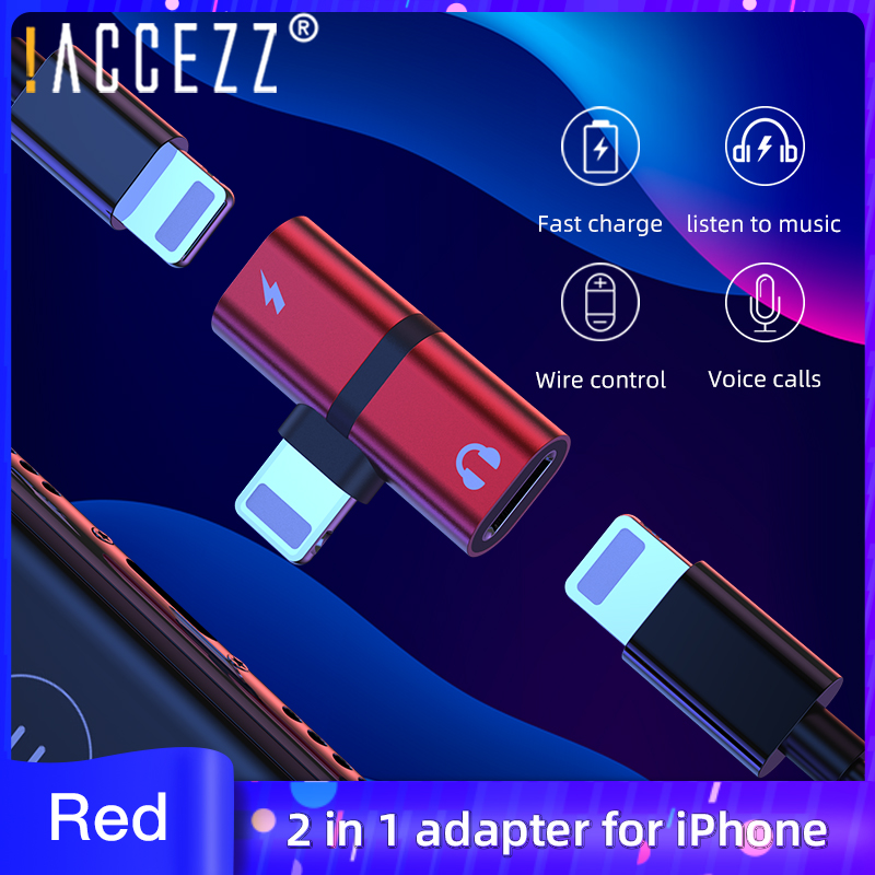 !ACCEZZ 2 In 1 For Apple Adapter For Iphone 7 8 Plus X XS MAX XR Connector Splitter Audio Converter Support Charging Calling
