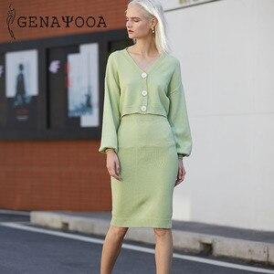 Image 4 - Genayooa Conjunto de dos piezas de punto para mujer, conjunto de 2 piezas, suéter, traje Vintage de manga larga, cárdigan, Falda Midi, 2020