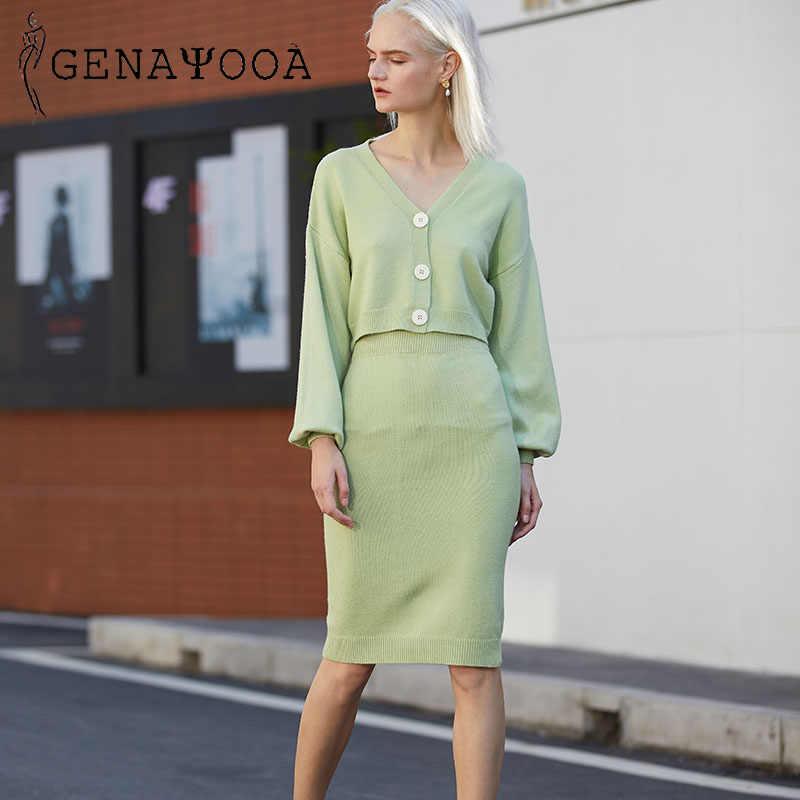 Genayooa Gestrickte Frauen Zwei Stück Set 2020 Frauen 2 Stück Set Pullover Anzug Vintage Langarm Strickjacke Weibliche Midi Rock set