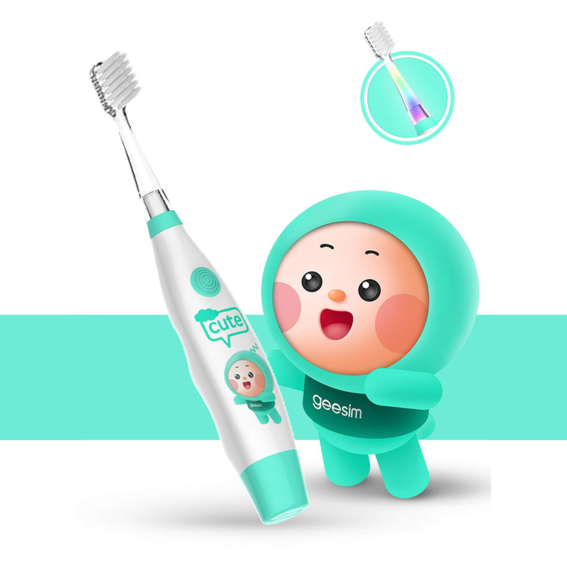 Baby Toothbrush Electric Sonic Battery Powered With Smart Timer Colorful LED Kids Electric Toothbrushes Baby Sonic Toothbrush image