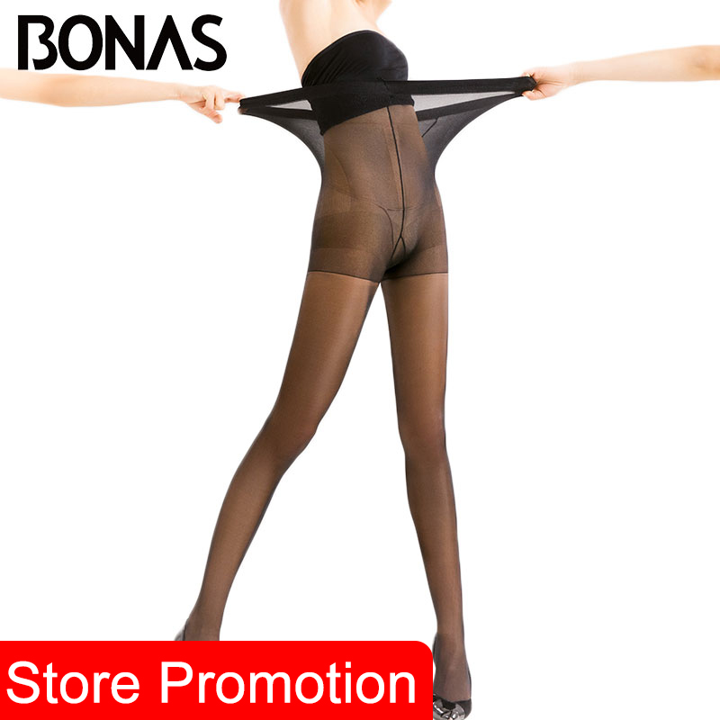 BONAS 10D Ultra-thin Sexy Breathable Tights Women Bright Silk Pantyhose Sun Protection Nylon Tights Stretchy Slim Stockings