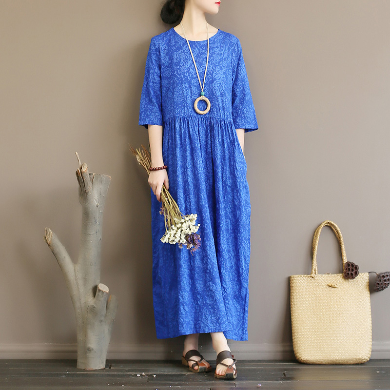 Original Literature Retro Women's Salt Shrink Cotton Travel Holiday Dress Loose Long Dress Robe Summer
