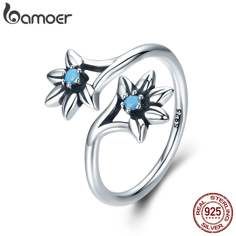 BAMOER 100% 925 Sterling Silver Popular Daisy Flower Blue CZ Female Ring Party Engagement Jewelry Gift Adjustable Size SCR249