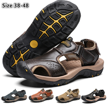 CUNGEL New Male Shoes Genuine Leather Men Sandals Summer Men Shoes Beach Sandals Man Fashion Outdoor Casual Sneakers Size 48