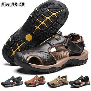 Image 1 - CUNGEL nouveau mâle chaussures en cuir véritable hommes sandales été hommes chaussures plage sandales homme mode en plein air espadrilles décontractées taille 48
