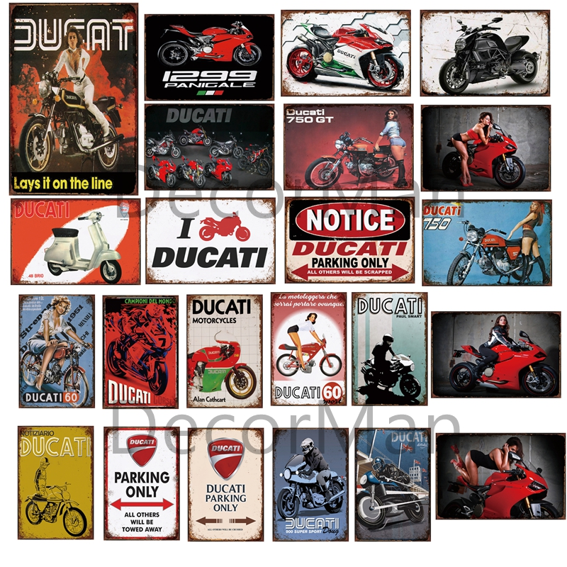 [ Mike86 ] DUCATI Motor Pin Up Parking Only Custom Metal  Sign Shabby Chic Retro Wall Painting Chritmas Gift 20*30 CM LTA-1700