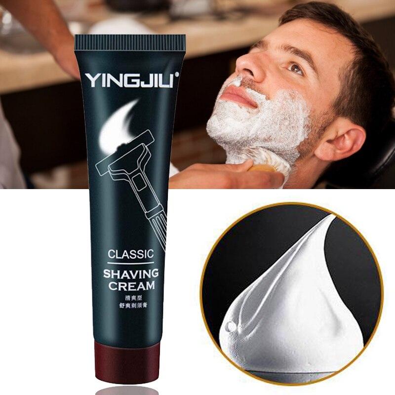 35g rafraîchissant barbe crème à raser laiteux blanc mousse adoucissant lubrifier réduisant la Friction outil dépilation soins de la peau