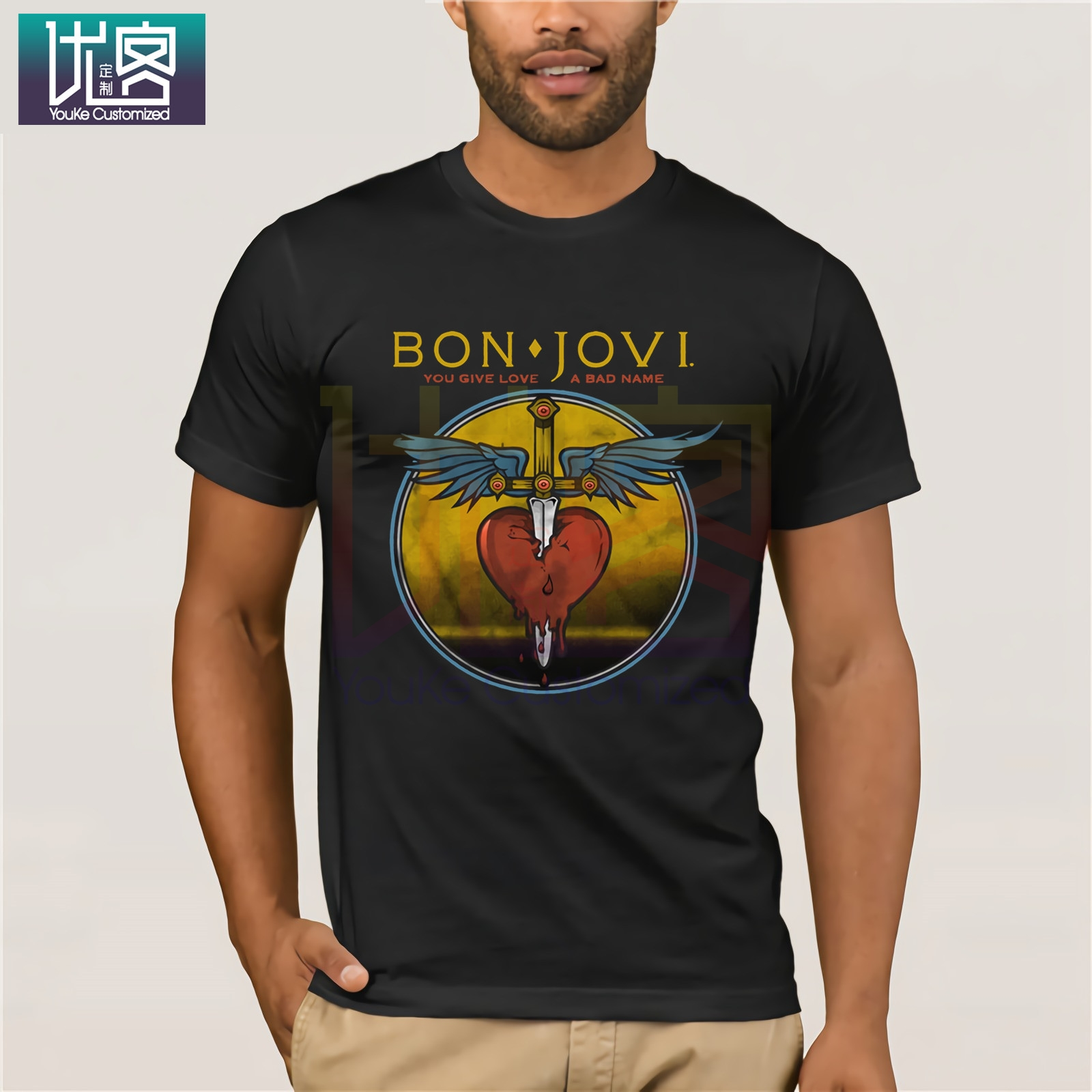 Bon Jovi You Give Love A Bad Name Adult T Shirt Rock Music Casual Short Sleeve Top Humor Tee Shirt 100% Cotton Tops Graphic