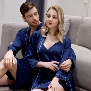 Image 3 - Spring and Summer Newest Simulation Silk Couples Nightgown Men and Women Embroidered Morning Bride Bridesmaid Nightrobe