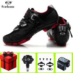 Tiebao obuwie rowerowe dodaj pedały SPD zestaw wyścigi buty na rower górski mężczyźni oddychające sapatilha ciclismo mtb chaussure vtt trampki|Buty rowerowe|   -