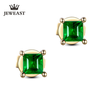ML Natural emerald 18K Pure Gold Earring Real AU 750 Solid Gold Earrings  Diamond  Trendy  Fine Jewelry Hot Sell New 2020 noble jewelry emerald cut 6x8mm solid 18k two tone gold natural diamond tanzanite pendants jewelry for women wp070