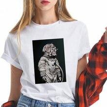 Астронавт букет принт женские футболки сезон: весна лето свободная