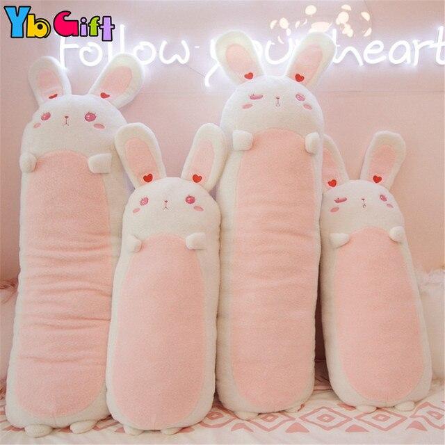 Encantadores conejos Kawaii de juguete Rosa Suave Animal relleno conejo ropa de cama almohadas de oreja larga conejito muñeca niñas regalos niños cumpleaños