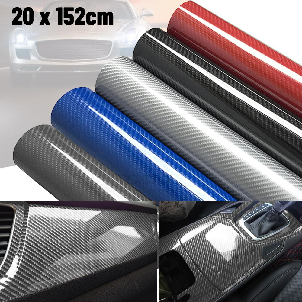 20 50 152cm 6D Car Styling DIY High Glossy Carbon Fiber Vinyl Wrap Film Motorcycle Automobiles Car Sticker Decals Accessories