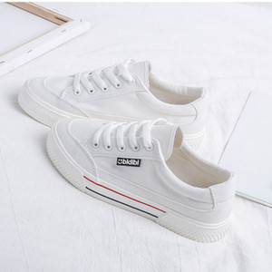 Image 2 - SWYIVY White Shoes Woman Platform Sneakers Canvas Shoes 2020 Spring New Female Causal Shoes Black Sneakers On Platform Heel