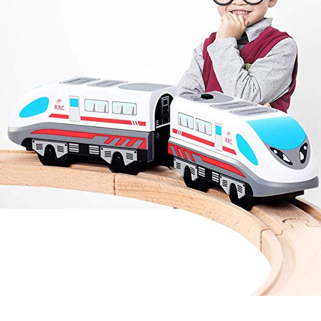 New Electric Train Magnetic Track Hape Steam-Era Freight Train Classic Children's Locomotive Toy For Thomas BRIO Wooden Track